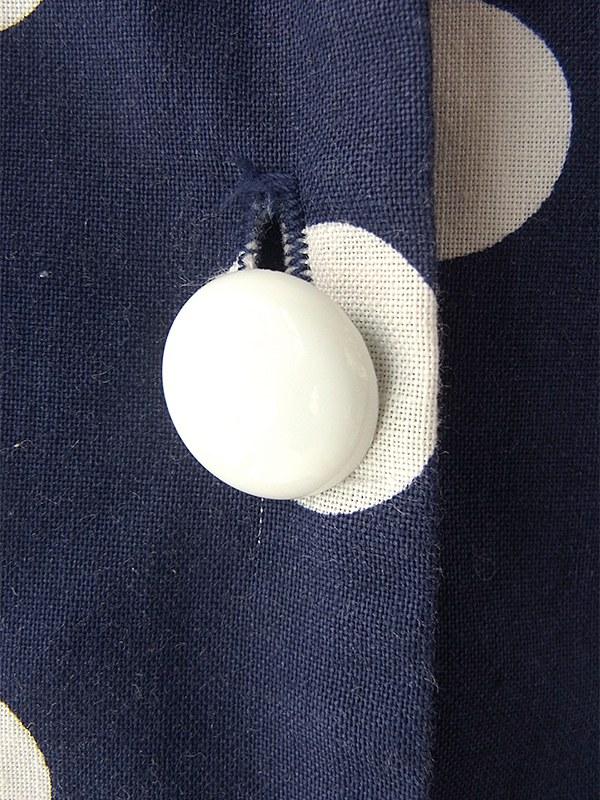 ヨーロッパ古着 ロンドン買い付け 60年代製 ブルー X ホワイト 水玉 ベルト付き ヴィンテージ ワンピース 16BS104