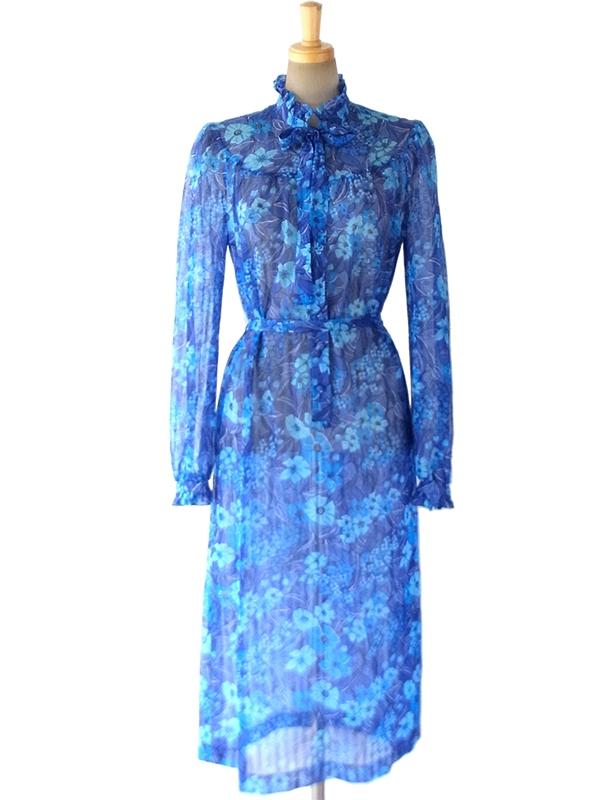 ロンドン買い付け  美しいロイヤルブルー X 花柄 ギャザー襟 共布ベルト付き ヴィンテージ ワンピース 16BS204