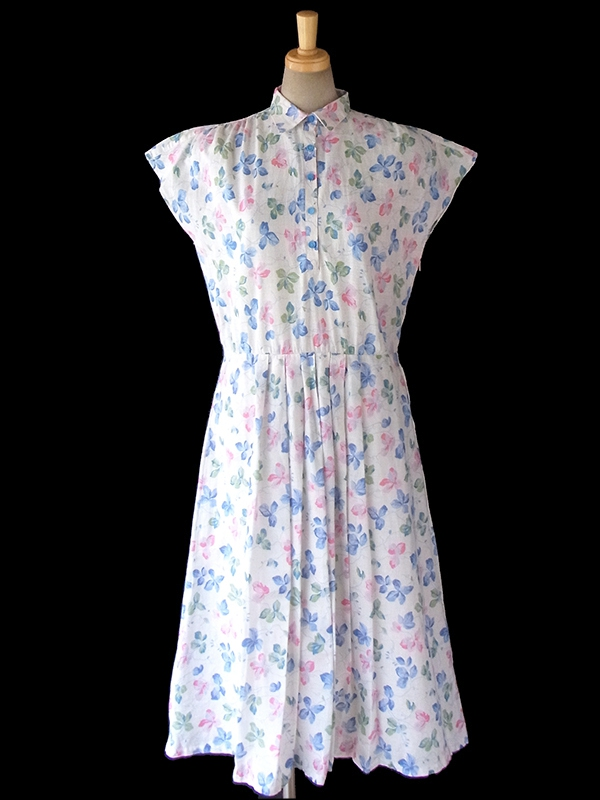 ヨーロッパ古着 ロンドン買い付け 60年代製 ホワイト X 水色・ピンク 花柄 ヴィンテージ ワンピース 16BS210