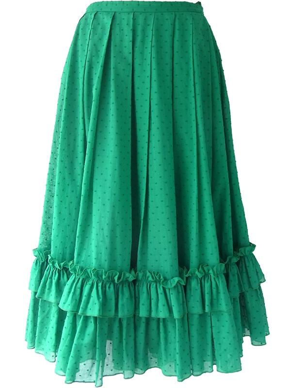 ヨーロッパ古着 ロンドン買い付け グリーン X 水玉刺繍 裾元ギャザーフリル プリーツ スカート 16BS227