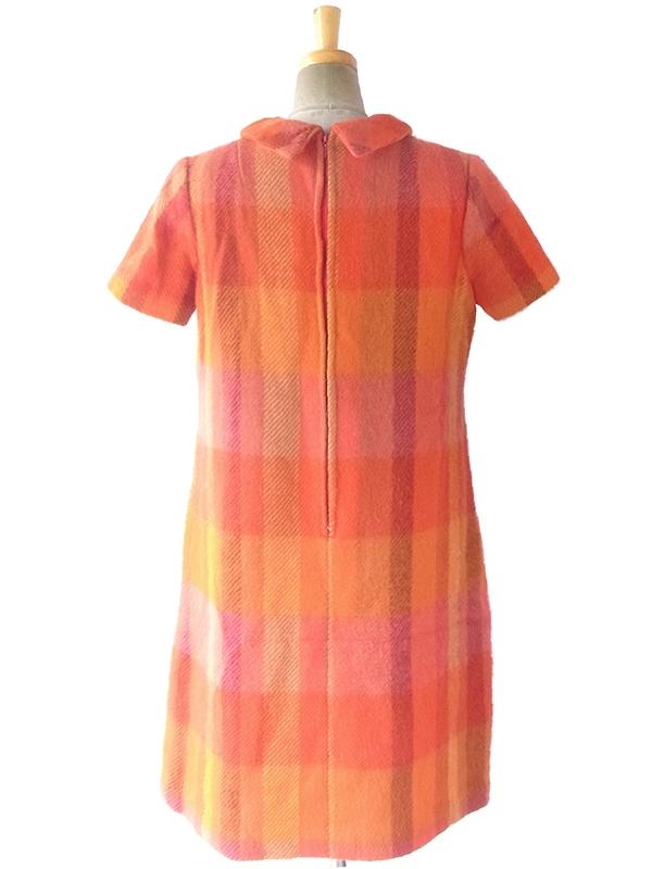 ヨーロッパ古着 ロンドン買い付け 60年代製 レッド X オレンジ ブロックチェック かわいい襟 ウール ワンピース 16BS302