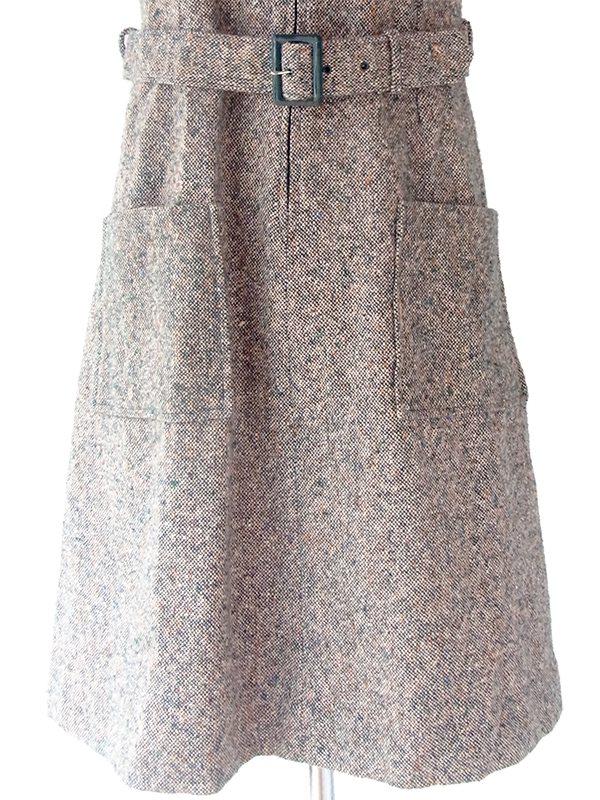 ロンドン買い付け 60年代製 ミックスカラーウールツイード 共布ベルト付き ヴィンテージ ワンピース 16BS314