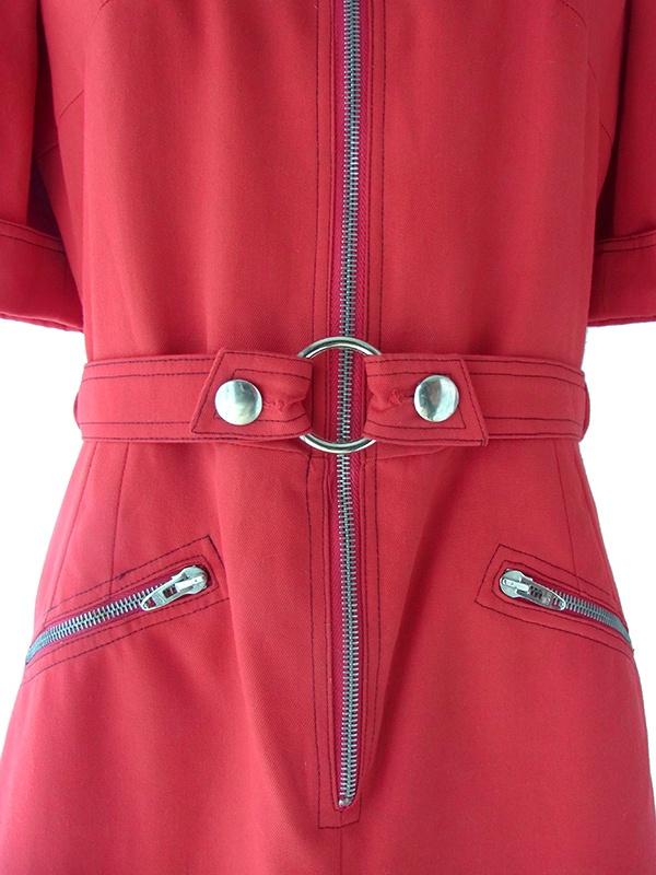 ヨーロッパ古着 ロンドン買い付け レッド X フロントジップ ポケットベルト付き ヴィンテージ ワンピース 16BS318