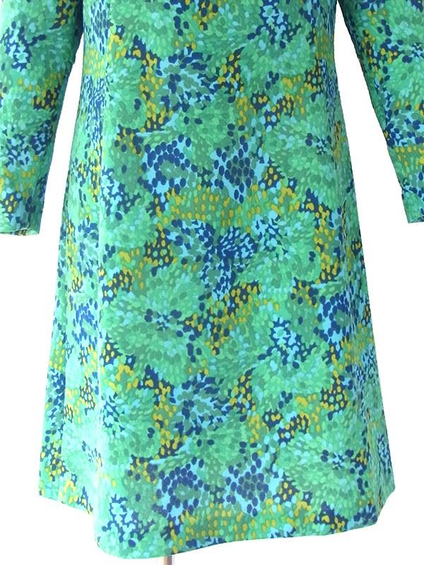 ヨーロッパ古着 ロンドン買い付け 70年代製 グリーン・水色・ブルー  X レトロ柄 モックネック ワンピース 16BS321