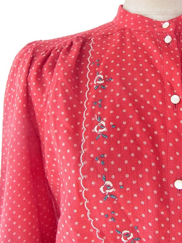 ヨーロッパ古着 イタリア製 レッド X ホワイト 水玉 花柄刺繍 ヴィンテージ ワンピース 16BS330