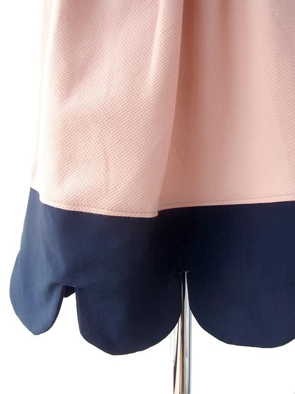 ヨーロッパ古着 ロンドン買い付け 60年代製 ピンク X ネイビー スカラップデザイン 上品プリーツ ワンピース 16BS409