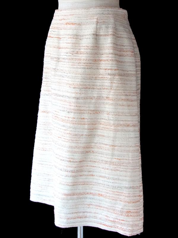 ヨーロッパ古着 ロンドン買い付け イタリア製 オフホワイト X オレンジ・グレイ ボーダー スカート 16BS425