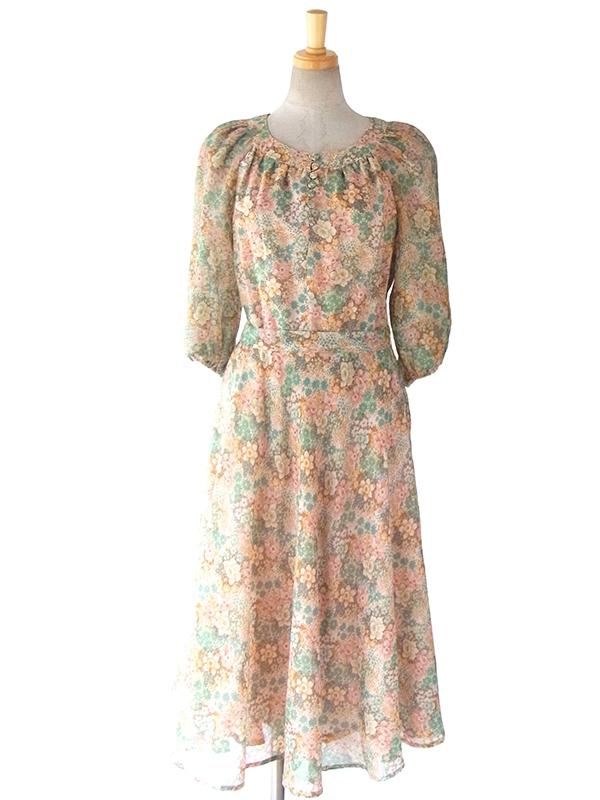 ヨーロッパ古着 フランス製 ロマンていっくな花柄のふんわりシルエット 共布ベルト付き ヴィンテージ ワンピース 16FC012