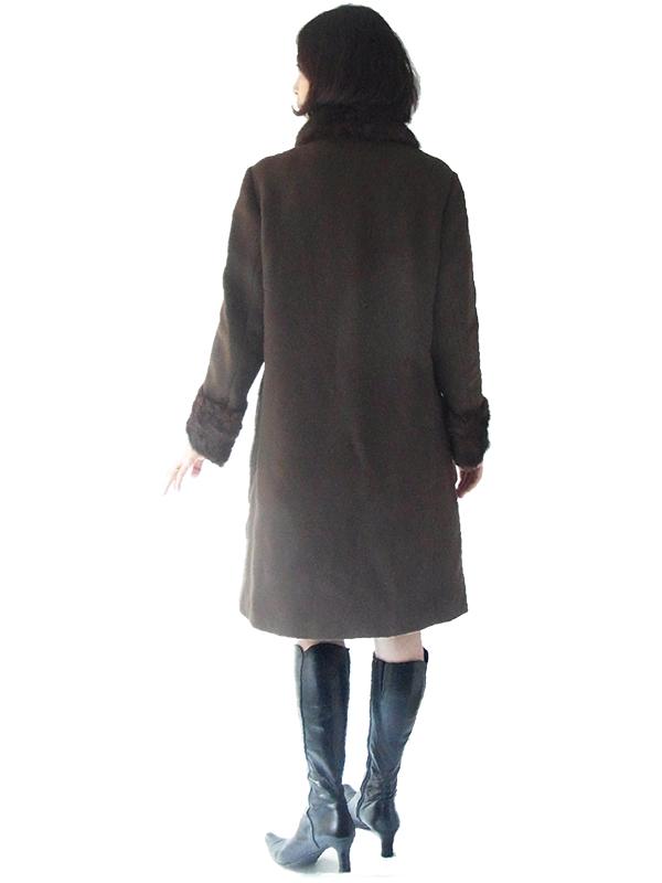 フランス買い付け 60年代製 ブラウン X 襟・袖ファー デザインボタン ヴィンテージ ウールコート 16FC020