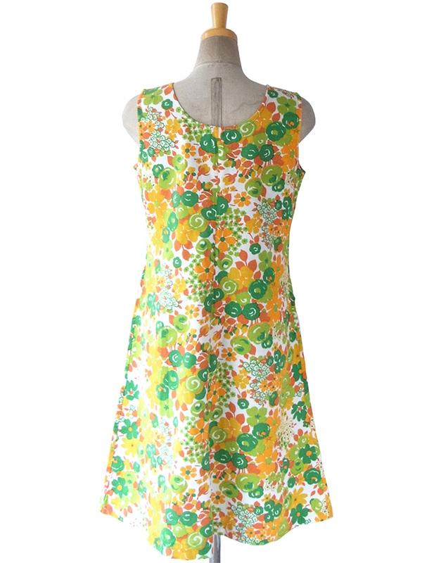 ヨーロッパ古着 フランス買い付け 60年代製 ホワイト X グリーン・オレンジ 花柄 ポケット付き ヴィンテージ ワンピース 16FC104
