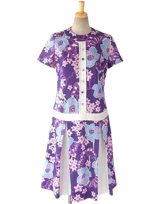 ヨーロッパ古着 フランス買い付け 60年代製 パープル X ホワイト レトロ花柄 プリーツスカート ワンピース 16FC201
