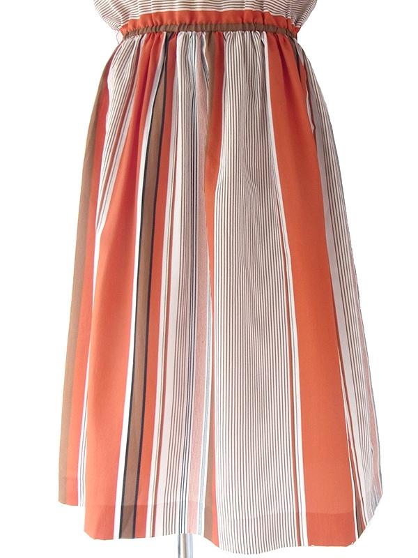 フランス買い付け ダークオレンジ・ブラウン・ブラック ストライプ ウエスト絞り ドルマンスリーブ ワンピース 16FC210