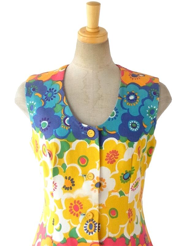 ヨーロッパ古着 フランス買い付け 60年代製 カラフル 花柄イラスト 前開き レトロ ワンピース 16FC213