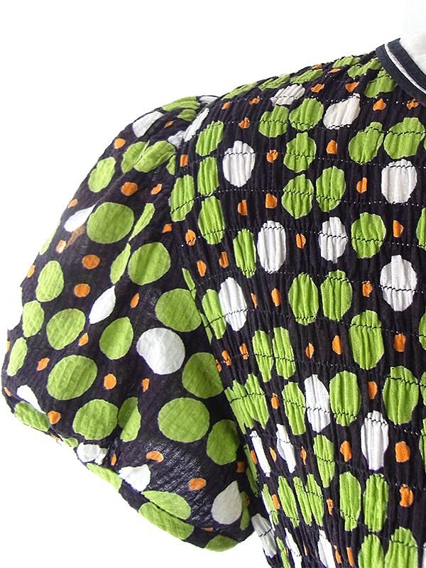 ヨーロッパ古着 フランス買い付け 60年代製 ブラック X グリーン・オレンジ・ホワイト 水玉 シャーリング レトロ ワンピース 16FC221
