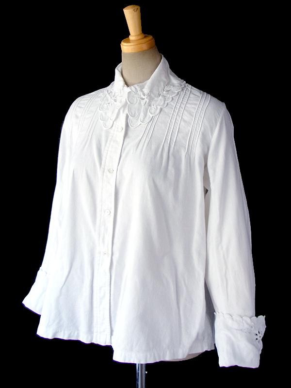 ヨーロッパ古着 フランス買い付け 60年代製 ホワイト ヴィンテージ キャバリア ブラウス 16FC225