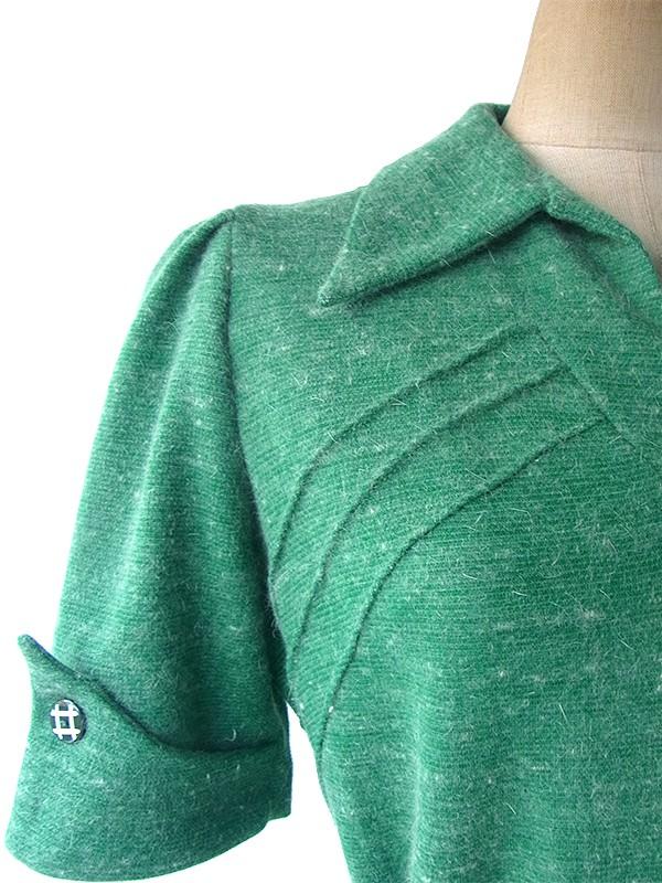 フランス買い付け 60年代製 ターコイズグリーン X ダークグリーン ベルト付き ヴィンテージワンピース 16FC508