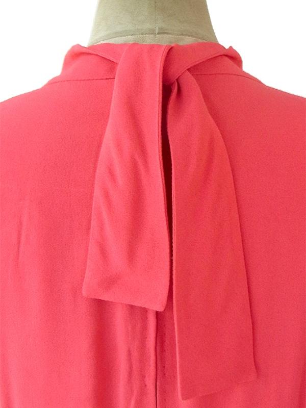 ヨーロッパ古着 フランス買い付け 60年代製 ピンク X ダックデザイン 背面リボン Aライン ワンピース 16FC512