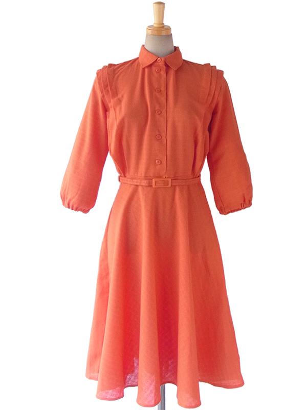 ヨーロッパ古着 ロンドン買い付け 60年代製 オレンジ タックデザイン ベルト付き ヴィンテージ ワンピース 16OM001