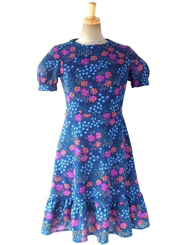 ヨーロッパ古着 ロンドン買い付け 70年代製 ブルー X カラフル花柄プリント パフスリーブ ワンピース 16OM1013