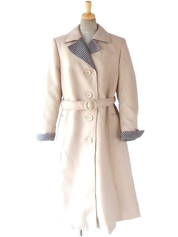 ロンドン買い付け ベージュ X 裏地にブル―の千鳥格子がのぞく ベルト付き ウール コート 16OM1017