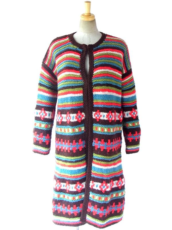 ヨーロッパ古着 ロンドン買い付け 60年代製 ブラウン X カラフルな編み込み ニット ガウン コート 16OM1022