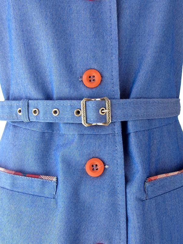 ヨーロッパ古着 ロンドン買い付け ブルー X チェック柄 ヴィンテージ デニム ワンピース 16OM217