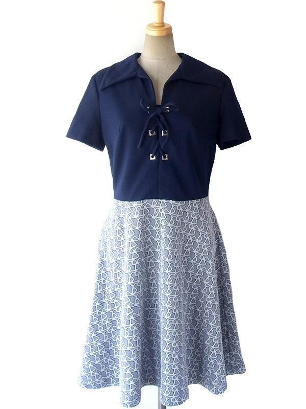 ヨーロッパ古着 ロンドン買い付け 60年代製 ブルー X ホワイト レトロ柄スカート 切り返しヴィンテージ ワンピース 16OM225