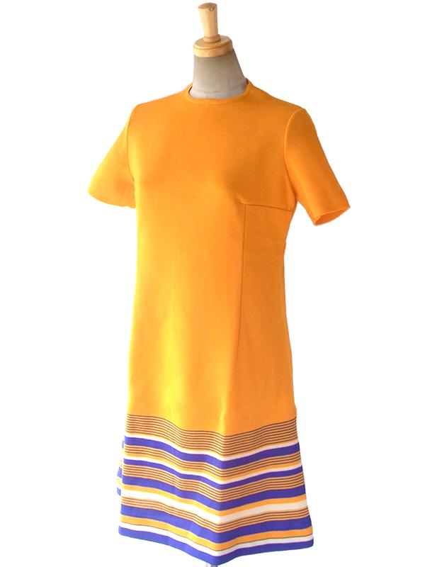 ヨーロッパ古着 ロンドン買い付け 60年代製 オレンジ X 裾元にパープル・ホワイトのストライプ レトロ ワンピース 16OM300