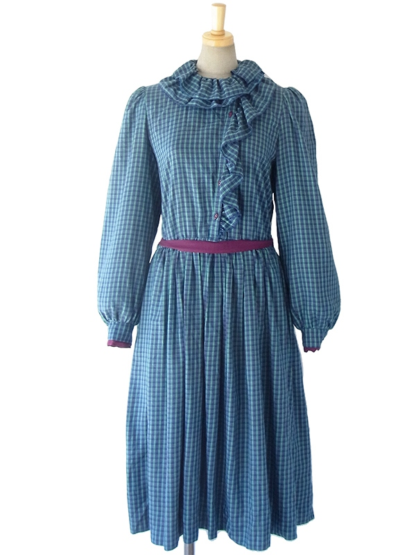 ヨーロッパ古着 ロンドン買い付け 60年代製 Betty Barclay ブルーXグリーン ギンガムチェック ひだ飾り ワンピース 16OM320
