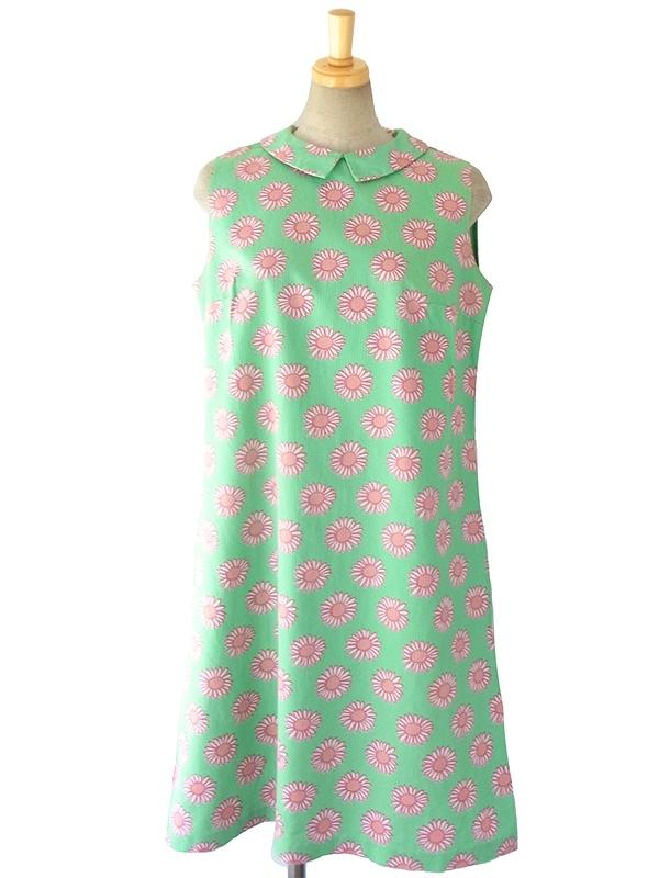 ヨーロッパ古着 ロンドン買い付け 60年代製 パステルグリーン X ピンク花柄 レトロワンピース 16OM321