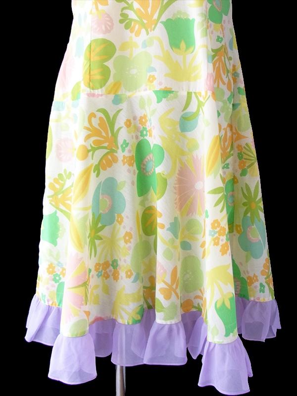 ヨーロッパ古着 ロンドン買い付け 60年代製 ホワイト X パステルカラー花柄 裾元パープルフリル ヴィンテージ ワンピース 16OM413