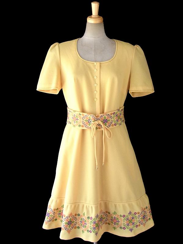 ヨーロッパ古着 ロンドン買い付け 60年代製 レモン色 X カラフル花柄刺繍 ベルト付き ヴィンテージ ワンピース 16OM414