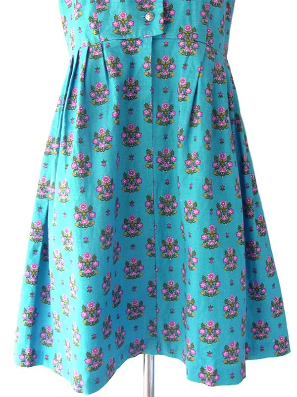 ヨーロッパ古着 ロンドン買い付け 60年代製 ターコイズブルー X オーナメント風花柄 チロリアン ワンピース 16OM506