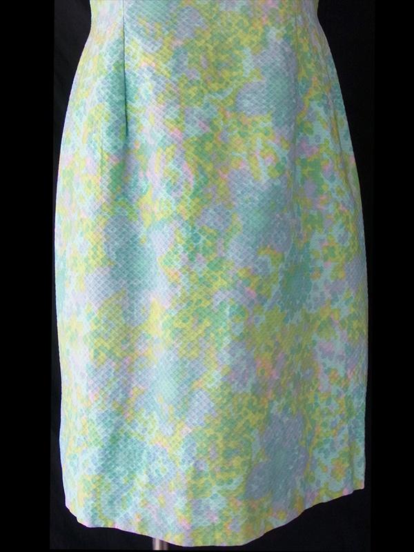 ヨーロッパ古着 ロンドン買い付け パステルカラーの水色を基調とした花柄 X ワッフル生地 レトロ ワンピース 16OM514