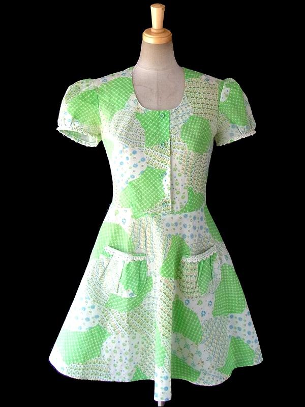ヨーロッパ古着 ロンドン買い付け 60年代製 グリーンを基調としたクレイジーパターン パフスリーブ レトロ ワンピース 16OM516