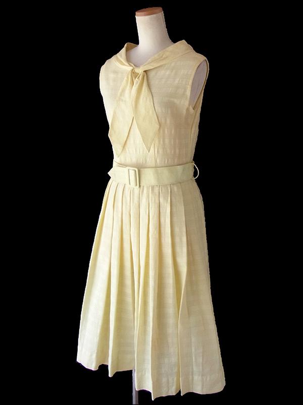 ヨーロッパ古着 ロンドン買い付け 60年代製 レモン色 共布ベルト付き ボウタイ ワンピース 16OM533
