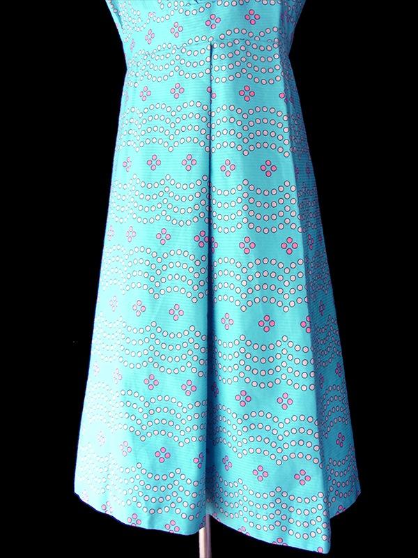 ヨーロッパ古着 ロンドン買い付け 水色 X ピンク・ライトグレイ 水玉 レトロ ワンピース 16OM606