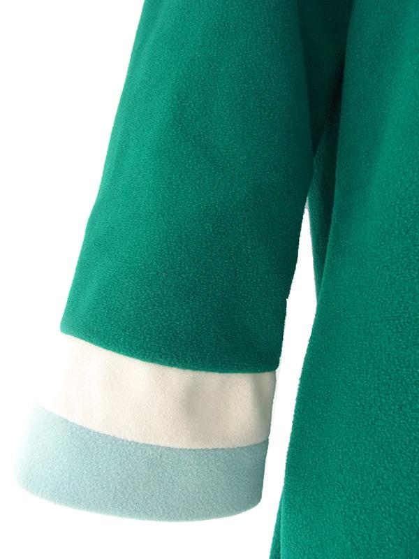 ヨーロッパ古着 ロンドン買い付け 60年代製 グリーン X ホワイト・水色 ストライプ フロントジップ ワンピース 16OM610