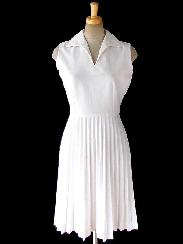 ヨーロッパ古着 ロンドン買い付け 60年代製 ホワイト X きれいなアンブレラプリーツ ワンピース 16OM617