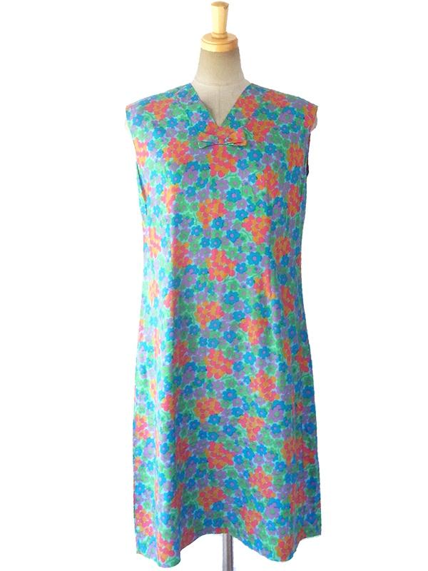 ロンドン買い付け 60年代製 カラフルな花柄プリント X 胸元リボン デッドストック ワンピース 16OM620