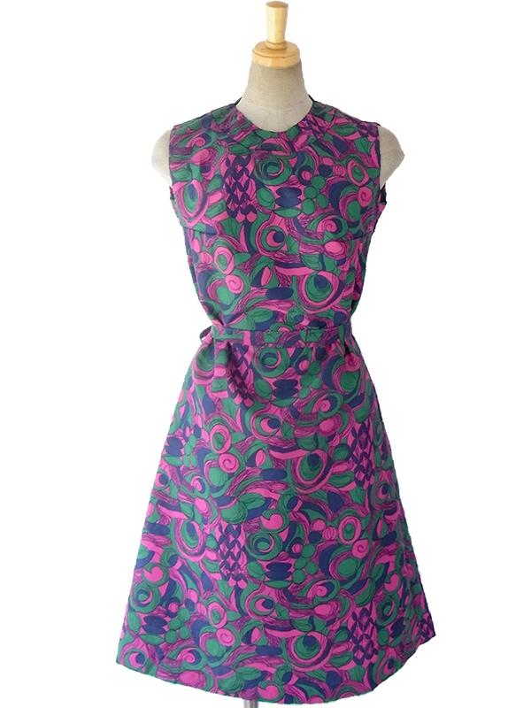 ロンドン買い付け 60年代製 グリーン・ピンク・ブルー 花柄プリント X 共布ベルト付き デッドストック ワンピース 16OM620