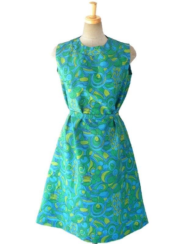 ロンドン買い付け 60年代製 ブルー・グリーン・黄緑 レトロプリント X 共布ベルト付き デッドストック ワンピース 16OM622