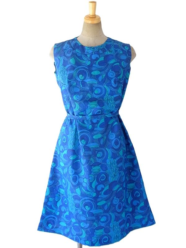 【送料無料】ロンドン買い付け 60年代製 ブルー・水色 レトロプリント X 共布ベルト付き デッドストック ワンピース 16OM623【未使用品】