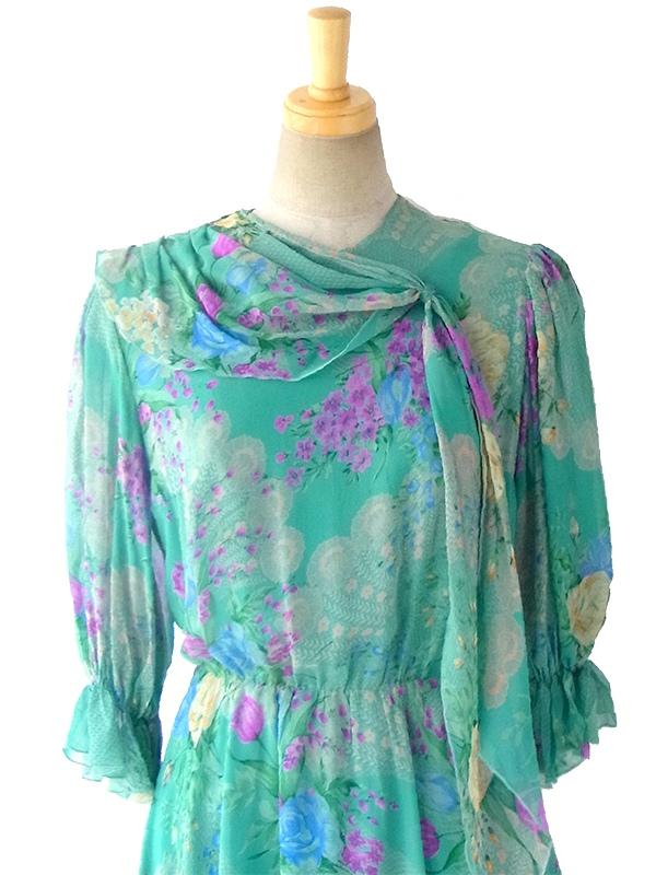 ヨーロッパ古着 ロンドン買い付け エメラルドグリーン X カラフル花柄 襟元スカーフシフォン生地 ワンピース 16OM629