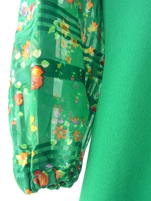 【送料無料】ロンドン買い付け 60年代製 グリーン X 花柄生地切り返し レトロ ワンピース 16OM702【ヨーロッパ古着】