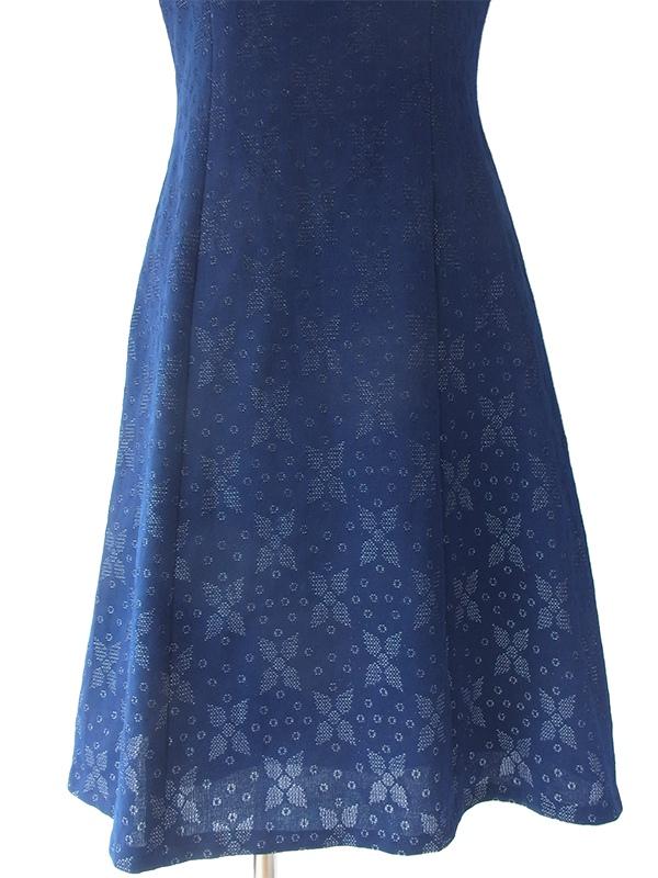 ヨーロッパ古着 ロンドン買い付け 60年代製 美しいブルー X シルバーラメのレトロ柄 ワンピース 16OM703