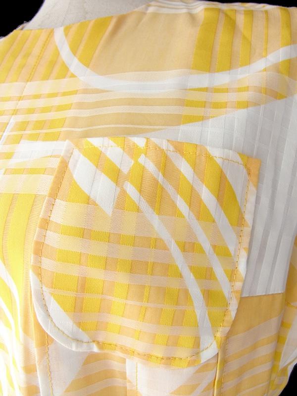 ロンドン買い付け 60年代製 イエロー X ホワイト チェック・レトロ柄 共布ベルト付き ワンピース 16OM821