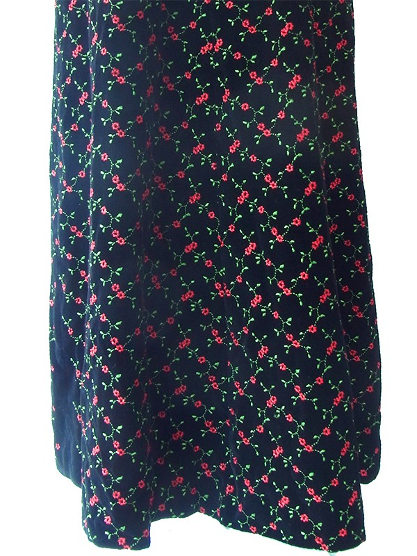 ヨーロッパ古着 ロンドン買い付け 60年代製 ブラック X 薔薇刺繍  共布巾着付き ロング ベルベット ワンピース 16OM907