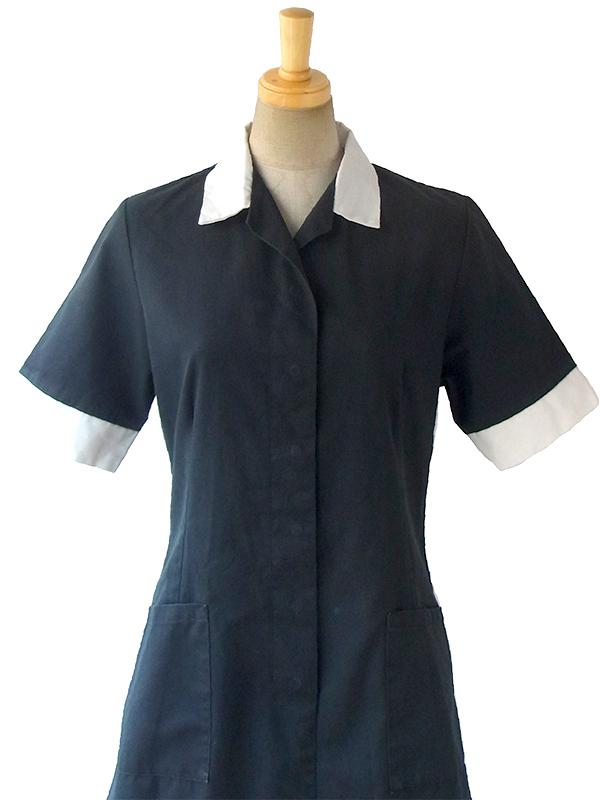 ヨーロッパ古着 ロンドン買い付け 60年代製 ブラック X ホワイト襟・袖口 ポケット付き ワンピース 16OM912