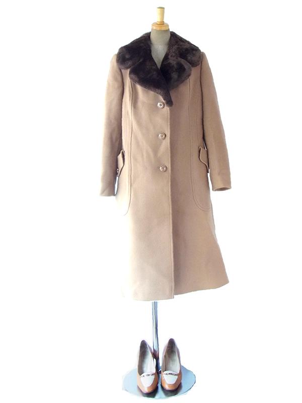 ヨーロッパ古着 ロンドン買い付け サンドベージュ X ブラックファー襟 肌触りの良い ロング コート 16OM928